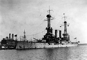 USS Minnesota (BB-22) - Minnesota at the Philadelphia Navy Yard, c. 1919