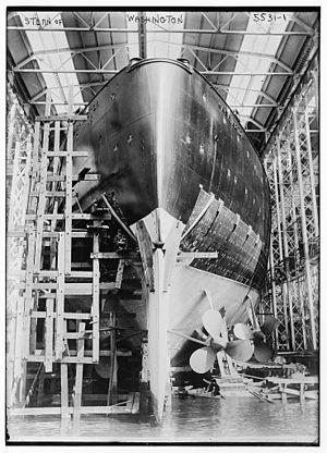 USS Washington (BB-47) - Image: USS Washington LOC ggbain 32932