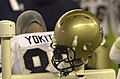 US Navy 031206-N-9693M-509 A Navy helmet hangs on a warming post during the 104th Army Navy game.jpg