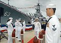 US Navy 050708-N-6775N-017 Adm. Walter F. Doran passes through the honor side boys during the arrival of the official party at the U.S. Pacific Fleet change of command ceremony.jpg