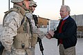 US Navy 051124-M-1327J-010 Senator Joseph Lieberman (D-CT) greets U.S. Marines, assigned to CRL-25 Military Police Battalion, and wishes them a Happy Thanksgiving.jpg