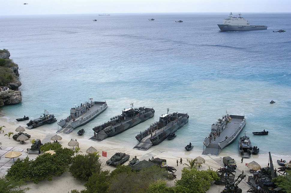 US Navy 060606-N-8154G-115 Two Landing Craft Utilities (LCU) assigned to Amphibious Craft Unit Two (ACU-2), rehearse storming the beach in Curacao, Netherlands Antilles