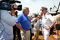 US Navy 070704-N-8110K-001 New England Cable News reporter Greg Wayland interviews Vice Adm. Paul Sullivan, commander of Naval Sea Systems Command, aboard USS Constitution on her Independence Day turnaround cruise in Boston Har.jpg