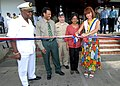 US Navy 071002-N-8704K-097 Ambassador Lisa Bobbie Schreiber Hughes, Dr. Marthelise Eersel, Capt. Bob Kapcio, Ivan Fernald, and Rudy Strijk conduct a ceremonial ribbon cutting.jpg