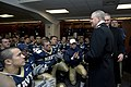 US Navy 071201-N-8273J-230 Chief of Naval Operations (CNO) Adm. Gary Roughead congratulates the U.S. Naval Academy team following a 38-3 victory over the Black Knights of the Army. The 108th Army-Navy football game was held at.jpg