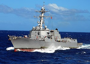 US Navy 080929-N-2183K-009 The guided missile destroyer USS Halsey (DDG 97) steams in the Indian Ocean.jpg