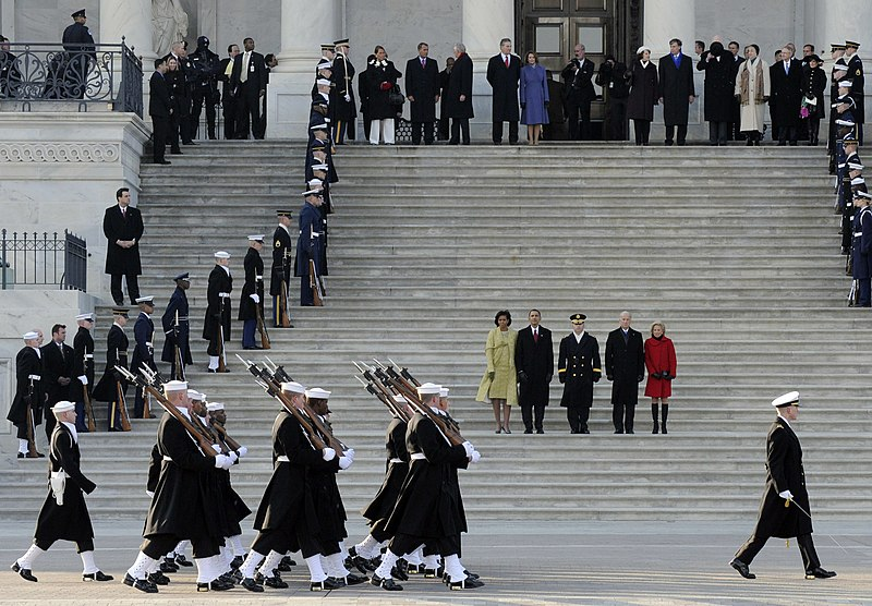 File:US Navy 090120-G-3550N-106 Members of the Navy Ceremonial Honor Guard conduct a pass in review for President Barack Obama and Vice-President Joseph Biden at the U.S. Capitol during the 56th Presidential Inauguration.jpg