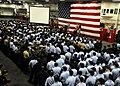 US Navy 091208-N-0120A-019 Vice Adm. Mark Ferguson conducts an all hands call aboard USS Essex (LHD 2).jpg