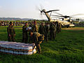 US Navy 100120-M-5034C-016 U.S. Marines assigned to the 22nd Marine Expeditionary Unit (22nd MEU) unload cases of bottled water from a U.S. Marine Corps CH-53 Sea Stallion helicopter.jpg