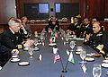 US Navy 100322-N-8395K-001 Chief of Naval Staff of the Pakistan Navy Adm. Noman Bashir, right, speaks with Rear Adm. (sel.) Matthew Klunder during a briefing at the U.S. Naval Academy.jpg