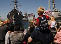 US Navy 110701-N-DI719-016 Friends and family members greet Sailors aboard the guided-missile destroyer USS William P. Lawrence (DDG 110) at Naval.jpg
