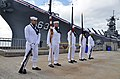 US Navy 111118-N-WP746-255 The Joint Base Pearl Harbor-Hickam Navy Detachment Honor Guard stand by to participate in a change of command alongside.jpg