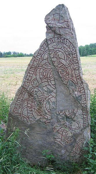 """Blot-Sweyn - The Norsta Runestone (U 861) on the drive of Wik Castle outside Uppsala was probably made by Sweyn and his family, as it mentions two people called Sweyn and Møy. It is the only existing mention of a Møy (""""maiden"""") besides the mention of Sweyn's sister Mær (the Old Icelandic form of Møy) in Hervarar saga, and it is contemporary with Sweyn."""