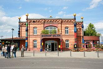 Uelzen station - Station hall in Hundertwasser style