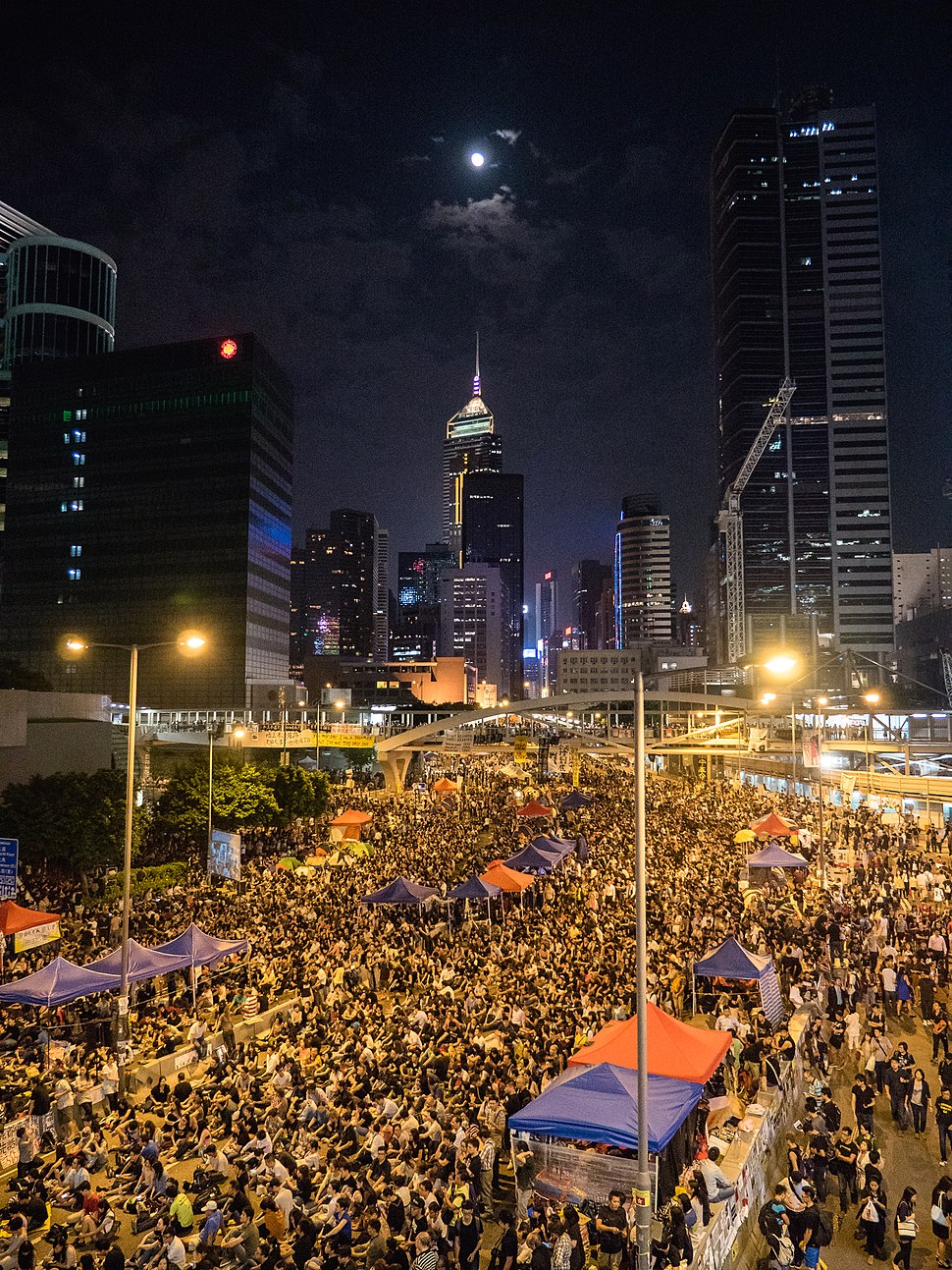 Umbrella Revolution in Admiralty Night View 20141010