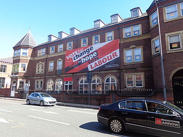 Unite the Union showing their support for the Labour party on their Leeds offices during the 2015 general election Unite the Union decked out for the 2015 General Election on Call Lane, Leeds (3rd May 2015) 001.JPG