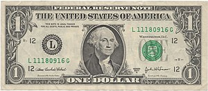 Obverse of United States one dollar bill, seri...