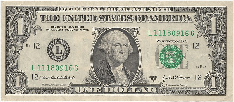File:United States one dollar bill, obverse.jpg