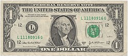 Εμπρόσθια όψη χαρτονομίσματος ενός δολλαρίου