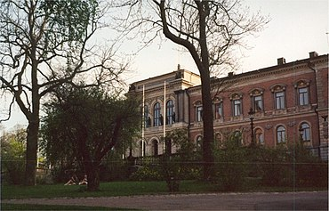The Neo-Renaissance main University building in the University Park, Uppsala (designed by Herman Teodor Holmgren and completed in 1887).