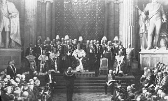 Regalia of Sweden - The crown and coronets being worn during the opening of the Riksdag 1905