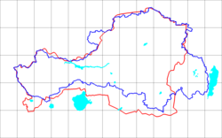 Blue line are early borders of the TPR. Red line is the Tuvan Autonomous Oblast border.