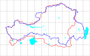 History of Tuva - Blue line is the Tannu Uriankhai (1914) border. Red line is the Tuvan Autonomous Oblast (1953) border.