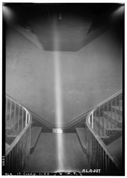 File:VIEW ON INTERMEDIATE STAIRWAY - Cunningham Plantation, Old Memphis Road (Gaines Trace Road), Cherokee, Colbert County, AL HABS ALA,17-CHER.V,1-22.tif