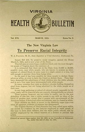 Racial Integrity Act of 1924 - Racial Integrity Act of 1924