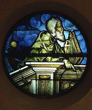 "Valentin Bousch - Glass-stained ""The Prophet Moses"" by Valentin Bousch,1533. Diam. 32 in. (81.3 cm.) Lorraine, Metz. Gift of Joseph Pulitzer Bequest to Metropolitan Museum, 1917"