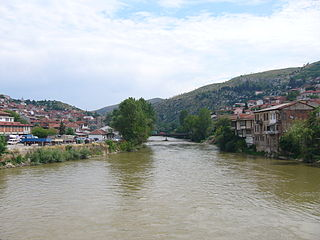 Vardar River in North Macedonia and Greece