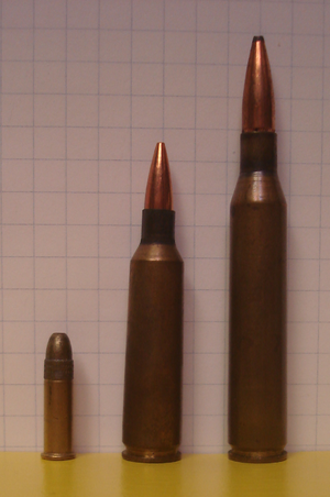 Varmint rifle - Typical varmint rifle cartridges on a 0.25-inch (6 mm) grid (from left to right): .22 long rifle for very small animals at ranges less than 100 meters, .22-250 represents the high velocity .22 calibers for longer range shooting, and .25-06 for larger animals at ranges up to 400 meters.