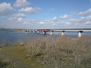 Southern Bug - Varvarivskyi Bridge in Mykolayiv.