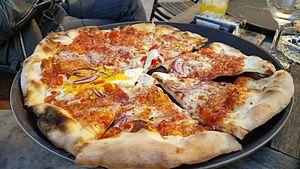 Pizza quattro stagioni - A vegetarian four seasons (quattro stagioni) pizza in Kunming, Yunnan, China