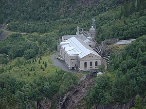 The Vemork hydroelectric plant in Norway, site of the heavy water production, and a part of the German nuclear program, sabotaged by Norwegians between 1942 and 1944 VemorkHydroelectricPlant.jpg