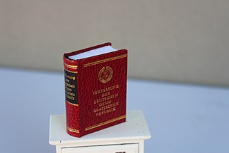 Constitution of East Germany - In miniature book.