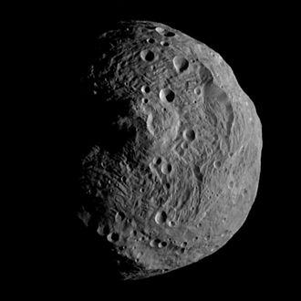 Rheasilvia - Southern hemisphere of Vesta, showing Rheasilvia crater
