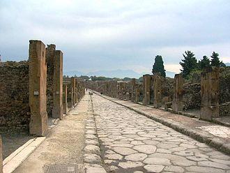 Pompeii - Via dell'Abbondanza, the main street in Pompeii.
