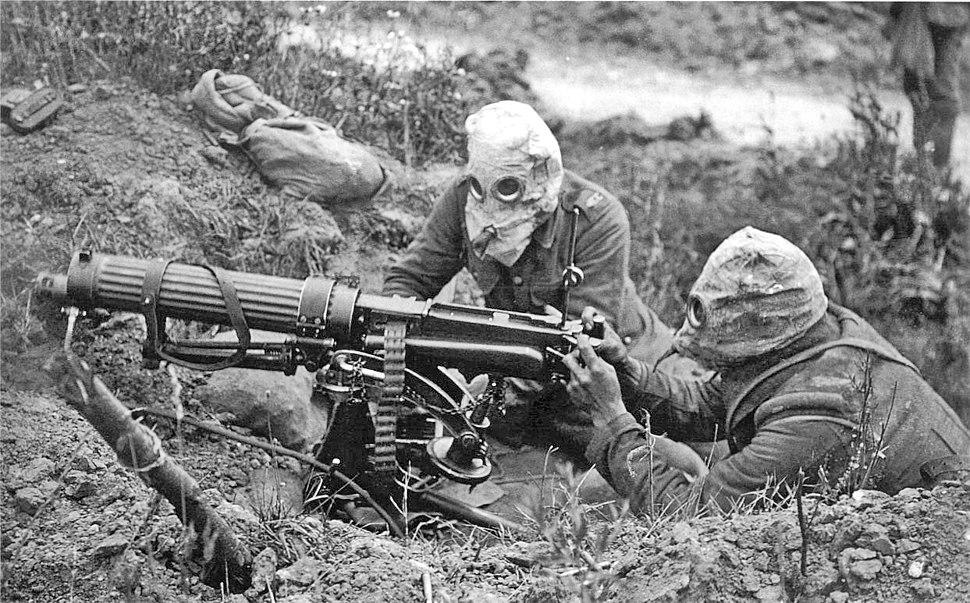 Vickers machine gun crew with gas masks