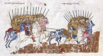 Ivan Vladislav of Bulgaria - A victory of the Byzantines over the Bulgarians, from the Madrid Skylitzes. After 1001 Basil II launched annual campaigns on Bulgarian territory, reversing the odds of war into the Byzantines' favour. Many Bulgarian fortresses had been conquered by force or treason by the time Ivan Vladislav came to the throne.