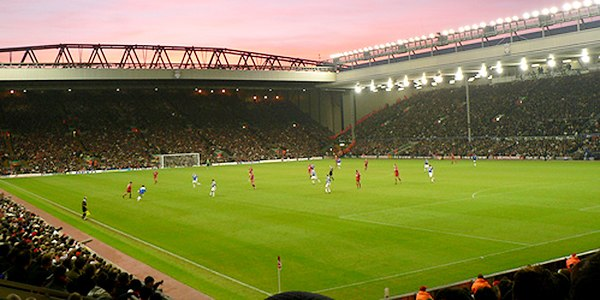 View of inside Anfield Stadium from Anfield Road Stand