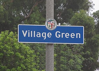 Village Green, Los Angeles - Village Green Signage located at the intersection of Rodeo Road and Hauser Street