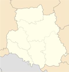 """Mapa konturowa obwodu winnickiego, u góry nieco na prawo znajduje się punkt z opisem """"Spiczyńce"""""""