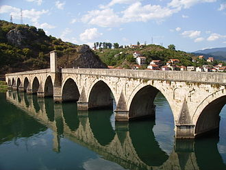Drina - World Heritage-listed Mehmed Paša Sokolović Bridge in Višegrad, Bosnia and Herzegovina