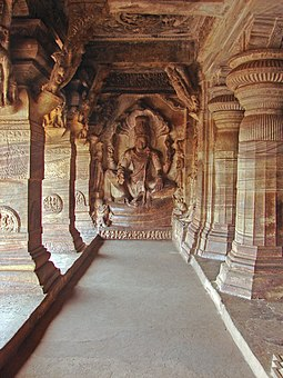 Vishnu image inside the Badami Cave Temple Complex number 3. The complex is an example of Indian rock-cut architecture. Vishnu image inside cave number 3 in Badami.jpg