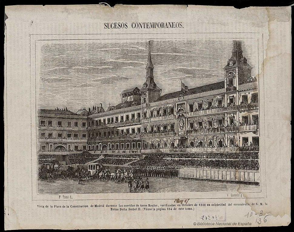 Vista de la Plaza de la Constitución de Madrid-Biblioteca Nacional