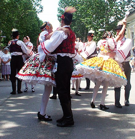 Hungarians dancing csardas in traditional garments / folk costumes Voivodina Hungarians national costume and dance 6.jpg