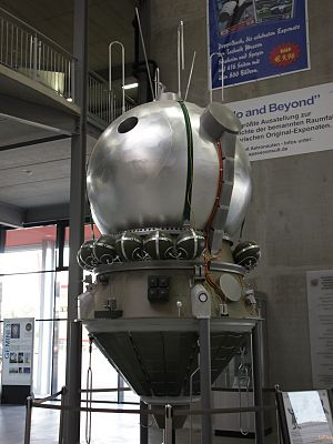 S5.4 - Vostok spacecraft replica at the  Technik Museum Speyer, Germany. The lower conical section was the service module with the S5.4/TDU-1 engine.