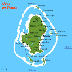 Map of Wallis Island showing the 3 districts:Hahake is located in the middle