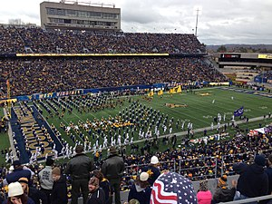 Mountaineer Field at Milan Puskar Stadium - Mountaineer Field in November 2014 showing the updated graphics and LED Boards